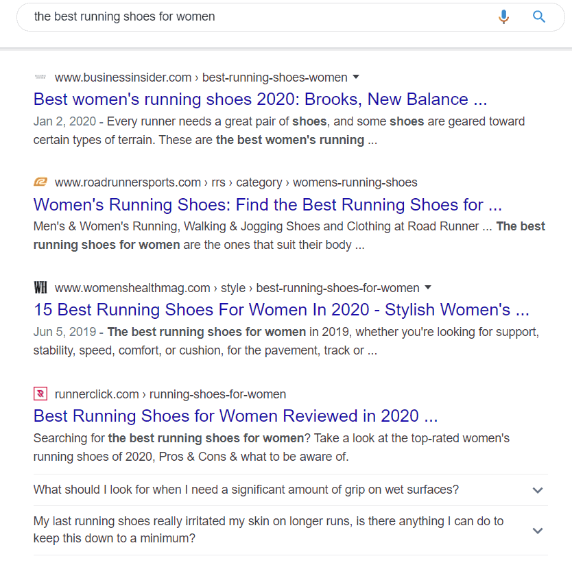 "A screenshot of the search results for the search ""the best running shoes for women"" in Google"