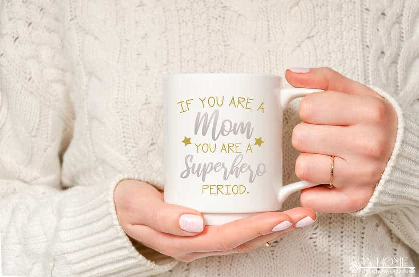 mug with superhero mom svg design