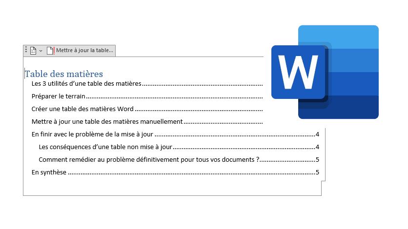 Table des matières Word : création, mise à jour et alternatives
