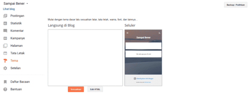 Menu tema Blogspot