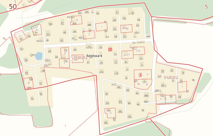 Кадастровая карта Березка-4