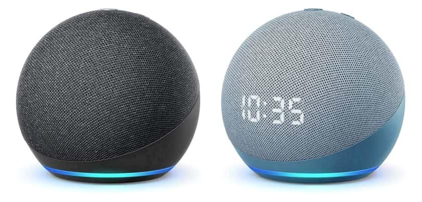 Echo Dot 4ª generación sin reloj y con reloj