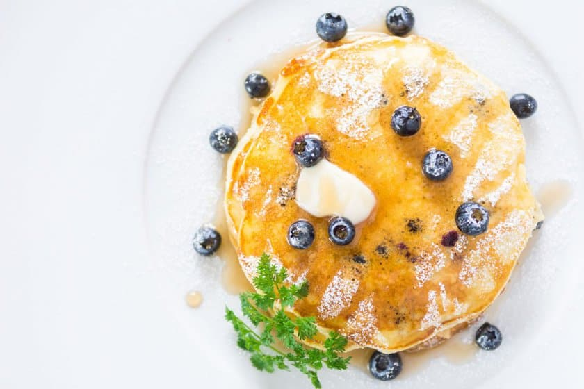Recipe for fluffy, moist blueberry yogurt pancakes