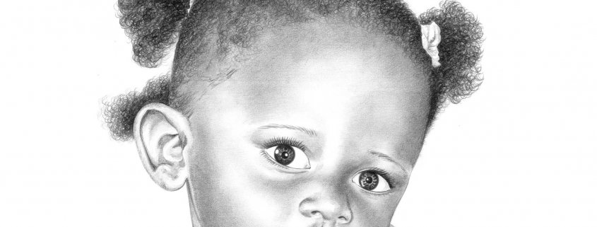 Pencil Drawing of Baby Girl