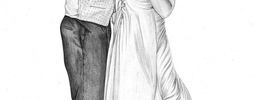 Pencil Portrait of First Dance at Wedding