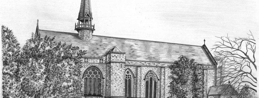 Pencil Drawing of the Chapel at Ripley St Thomas