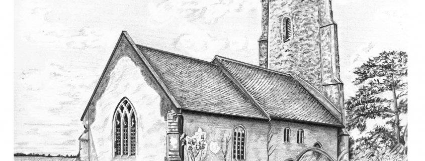 Church Drawing in Pencil
