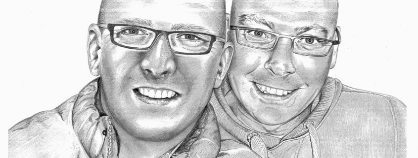 Pencil Portrait of Male Friends