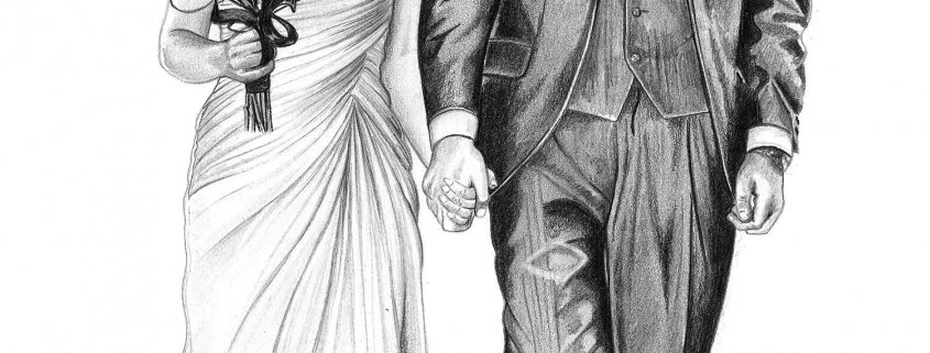 Pencil Drawing of Wedding Couple
