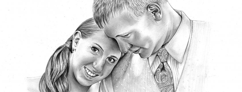 Pencil Drawing of Wedding Portrait