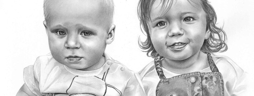 Pencil Sketch of Baby Brother and Sister