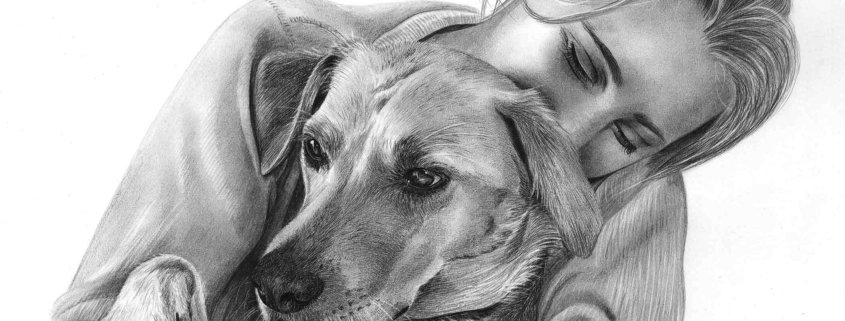 Pencil Drawing of Woman with Labrador