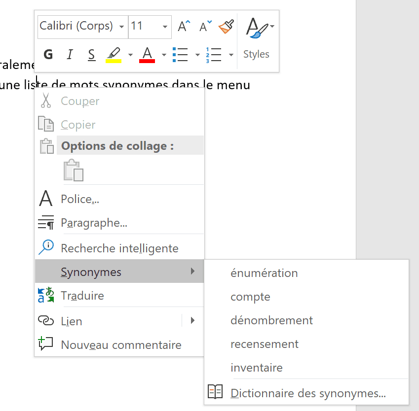 Office - menu contextuel synonymes