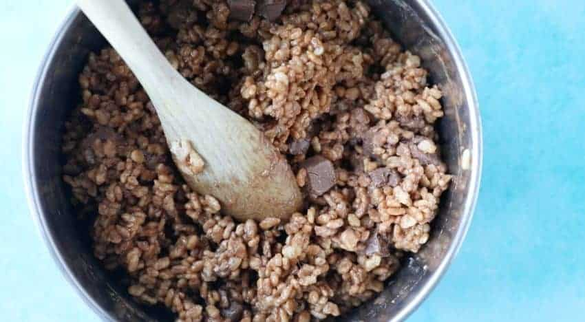 Close up of mixture for Mars Bar Slice recipe