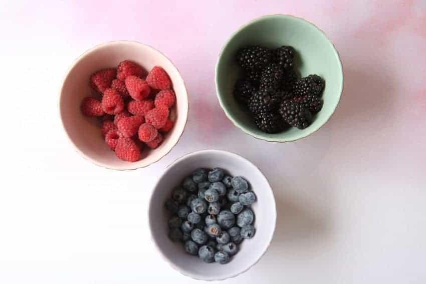3 bowls of berries