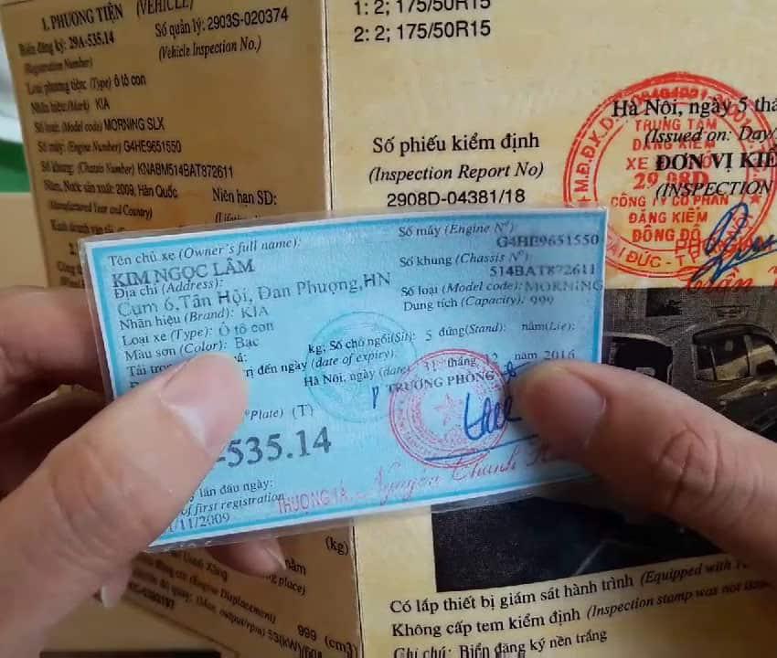 phân biệt thật giả cà vẹt xe bằng giấy đăng kiểm