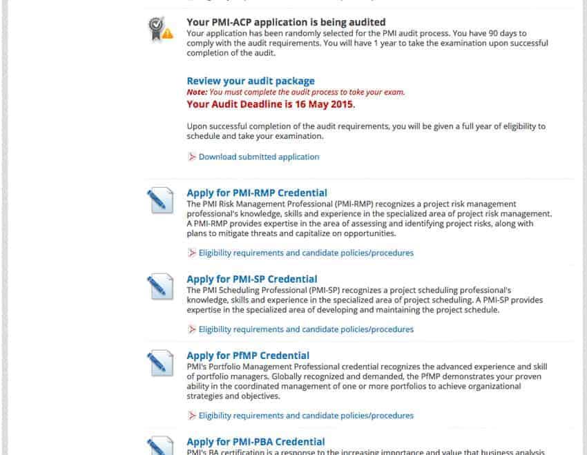 PMI-ACP Audit Notice