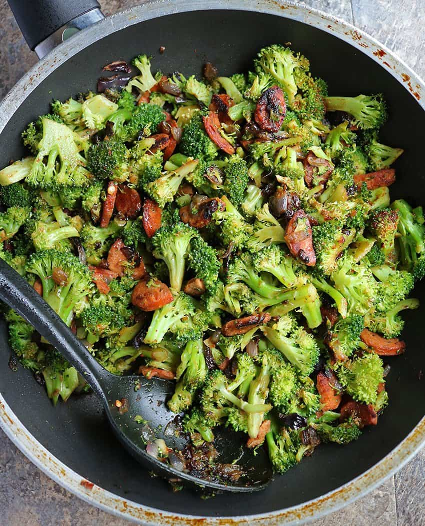 keto friendly Spicy Broccoli sausage Stir Fry