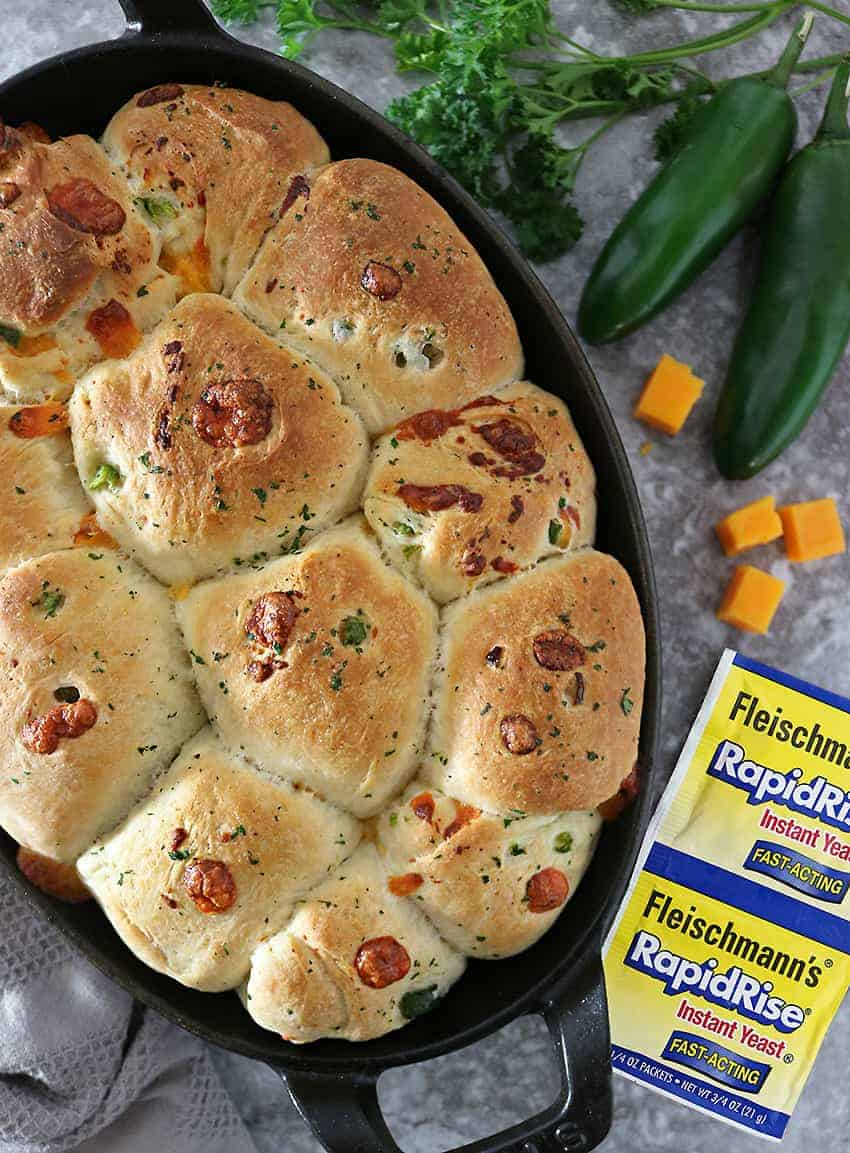 Image Delicious Pull Apart Jalapeno Cheddar Parker House Rolls.