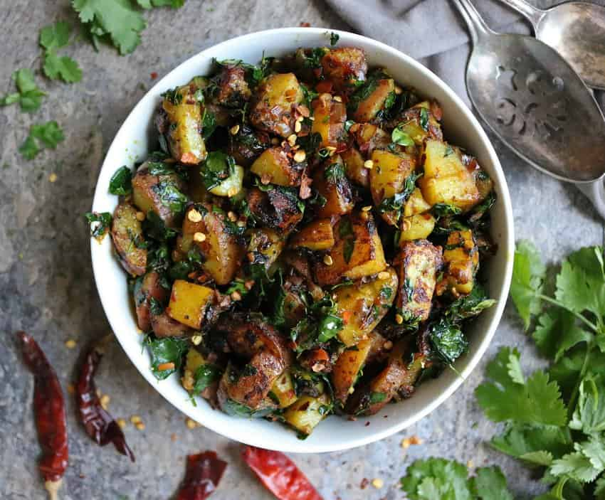 Potato Salad with Moringa Leaves in a bowl