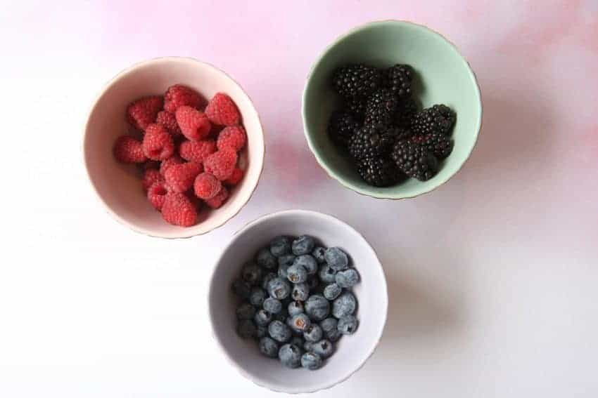 3 bowls of berries