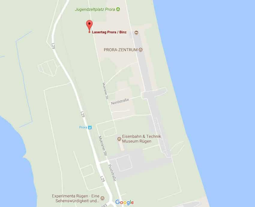 Laser tag Prora BINZ: Copyright Google maps