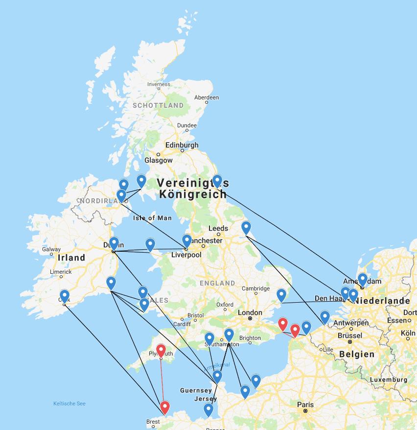 Fährverbindungen England - Frankreich - Niederlande - Belgien - Irland - Nordirland