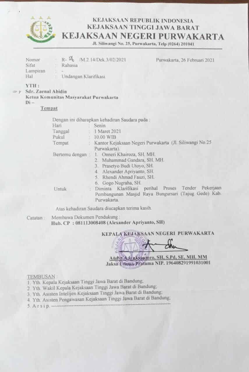 "surat ""undangan"" dari kejaksaan negeri purwakarta untuk pelapor kasus Tajug Gede"