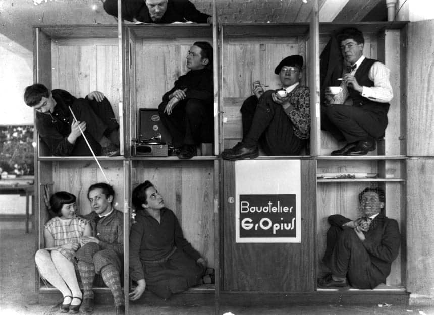 Walter Gropius's students joking around during a 'Minimalist Design for Living' course, 1927.