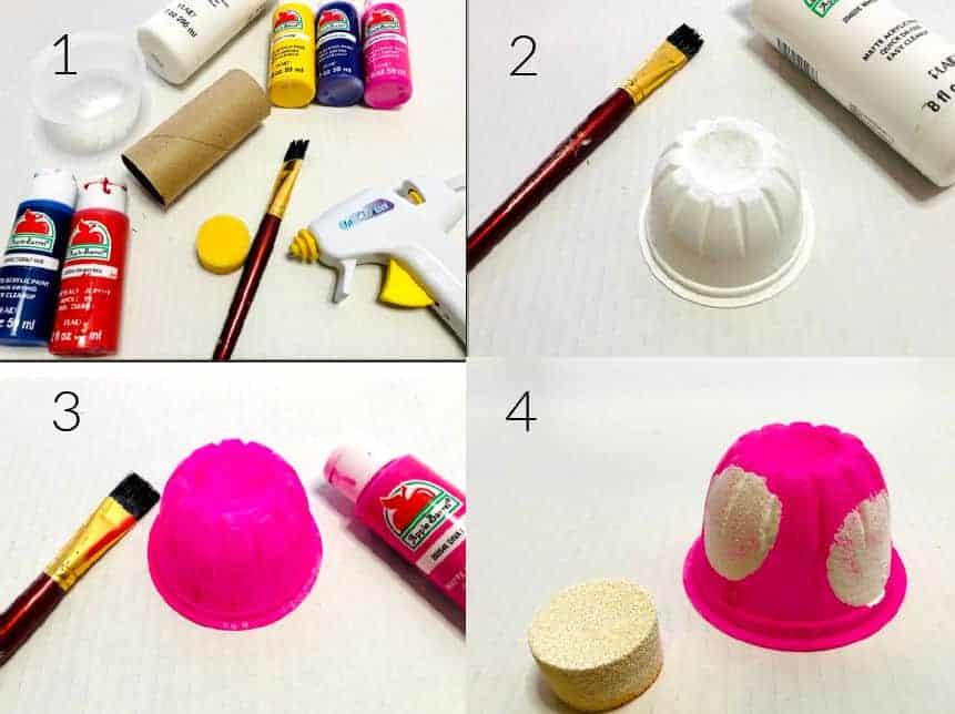 instruction collage for mushroom craft
