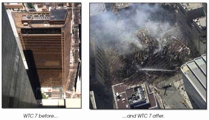Image of WTC 7 before and after demolition