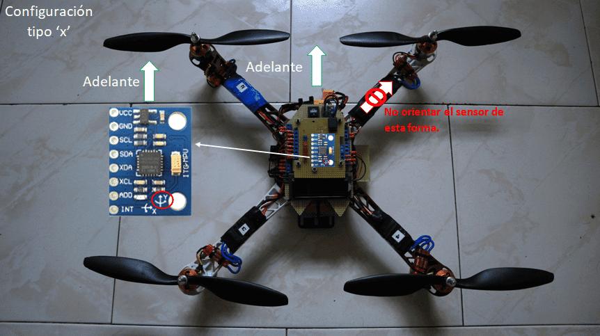 Orientación del sensor MPU6050 en el frame del drone
