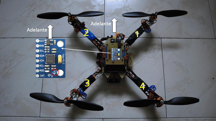 Numeración motores. Drone arduino.