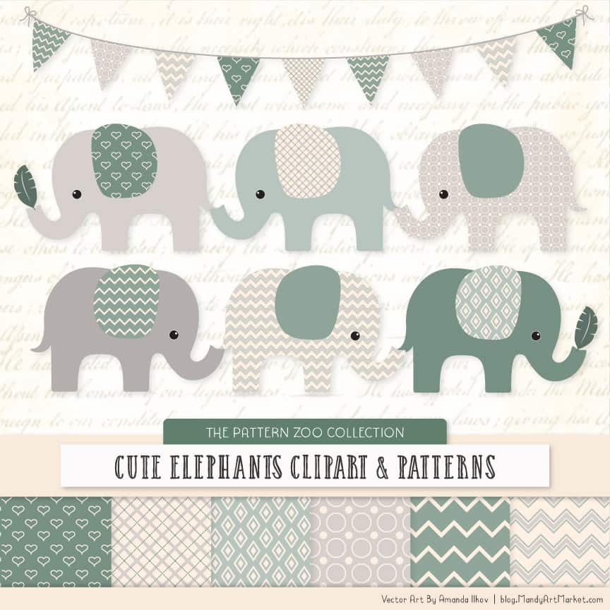 Hemlock Patterned Elephant Clipart & Patterns