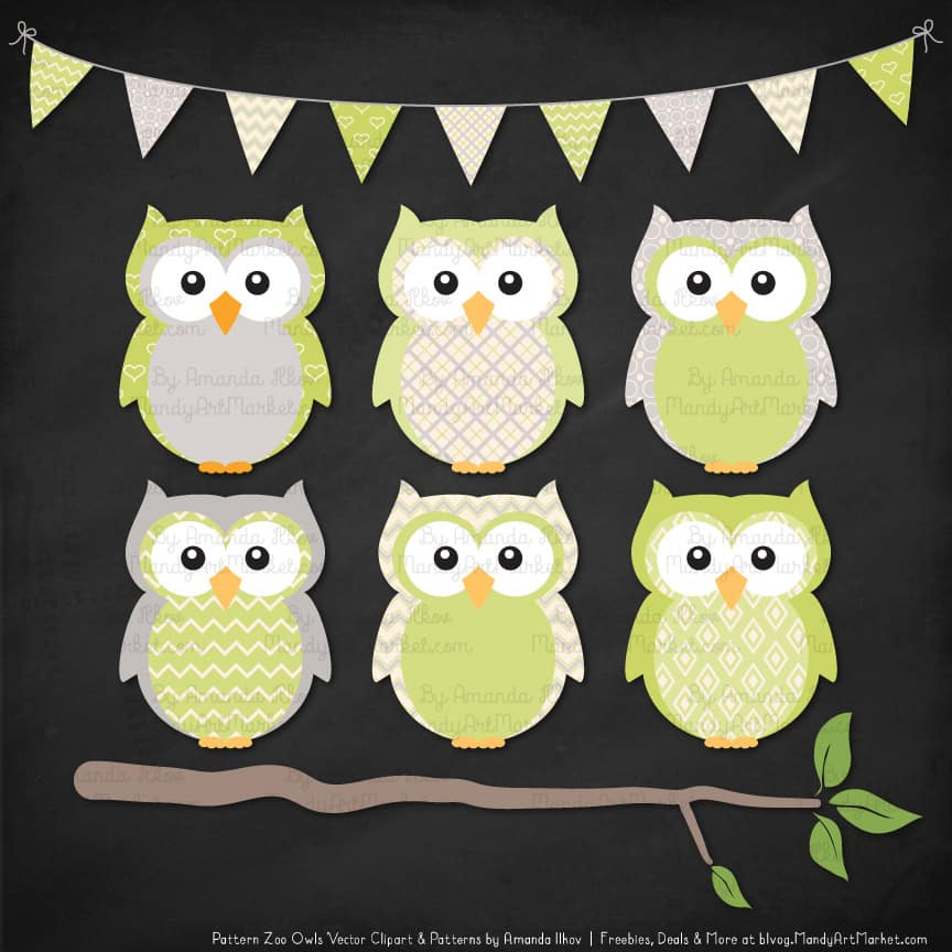 Pattern Zoo Bamboo Patterned Owl Clipart & Patterns