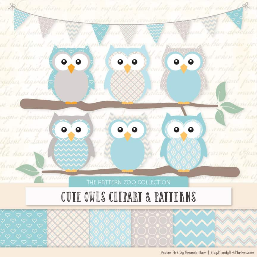 Pattern Zoo Soft Blue Patterned Owl Clipart & Patterns