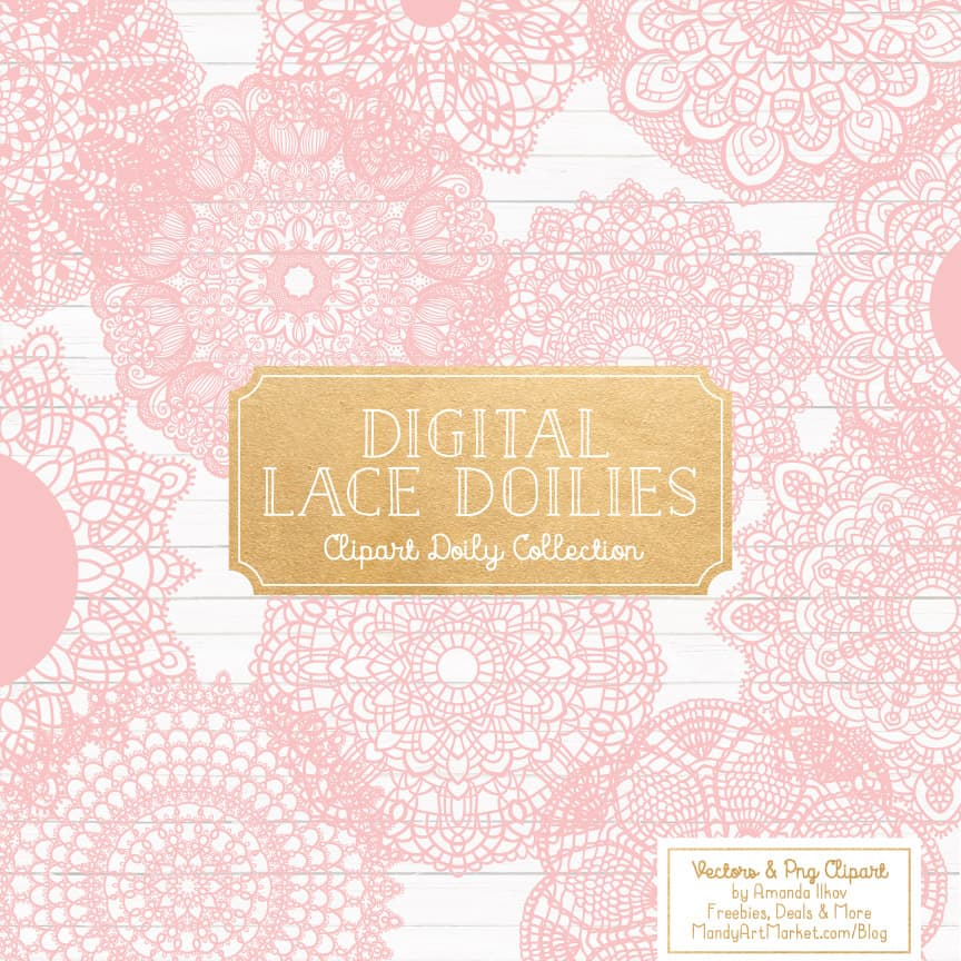 Round Lace Doilies Clipart in Soft Pink
