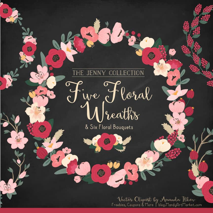 Round Floral Wreaths Clipart in Rose Garden