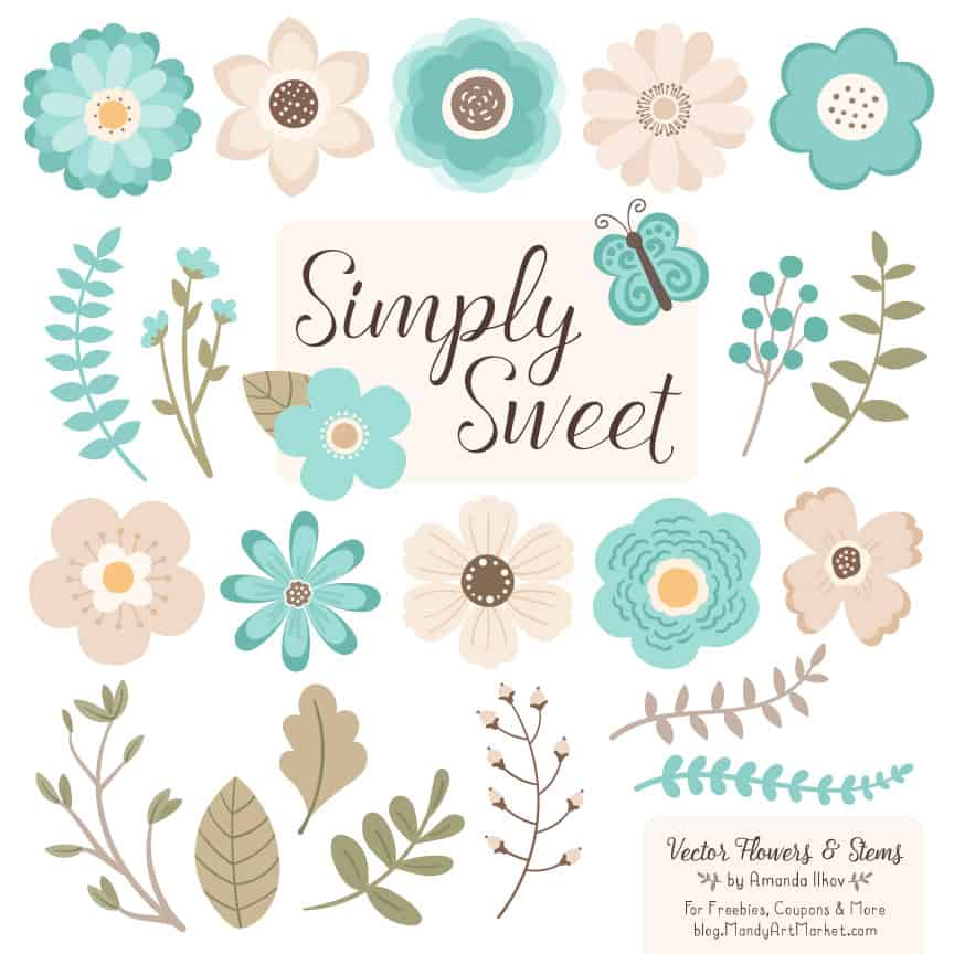 Aqua Cute Flower Clipart