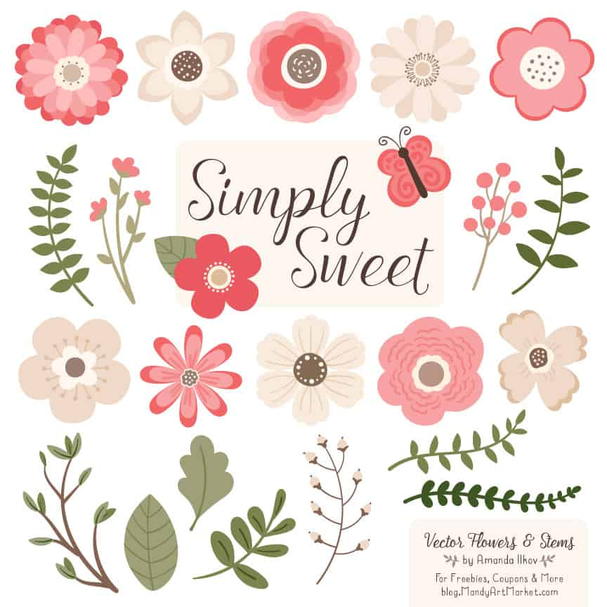 Coral Cute Flower Clipart