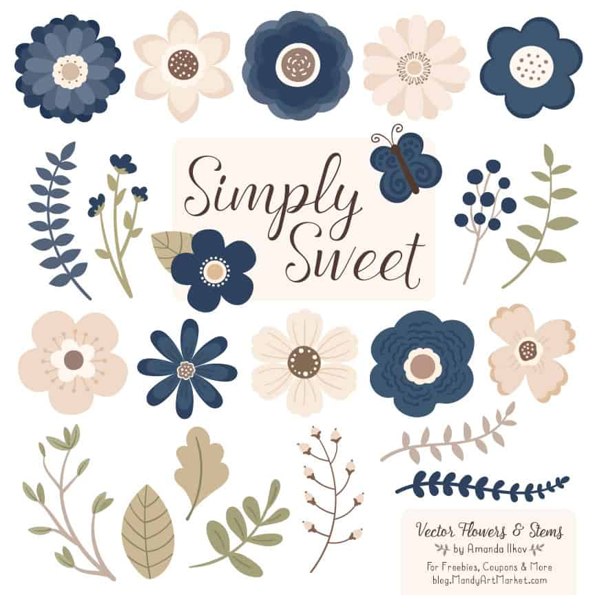 Navy Cute Flower Clipart