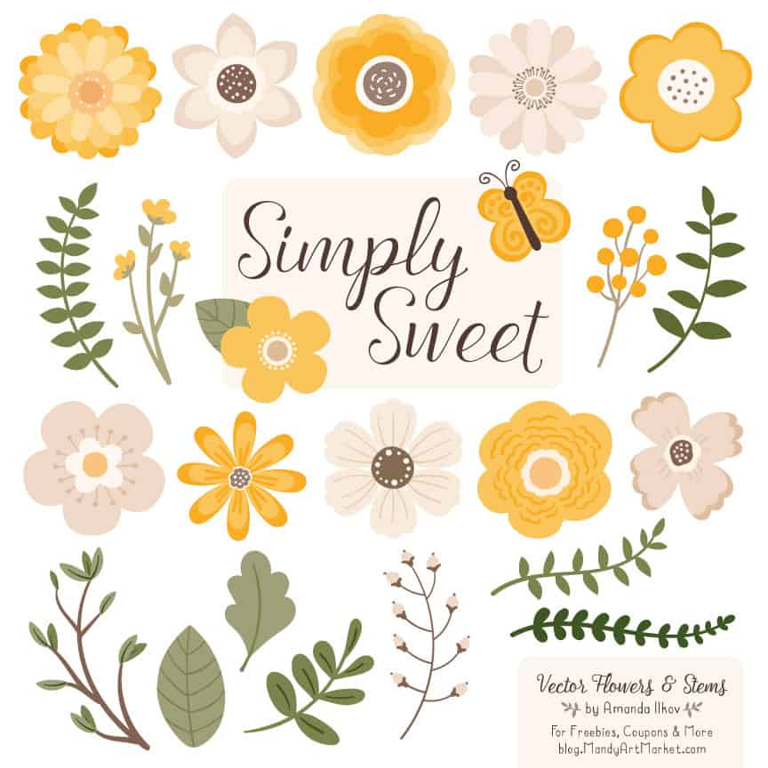 Sunshine Cute Flower Clipart