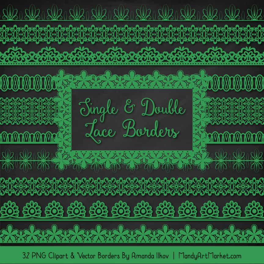 Green Digital Lace Borders Clipart