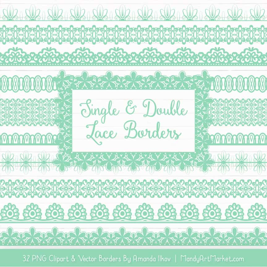 Mint Digital Lace Borders Clipart