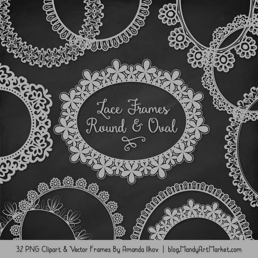 Grey Round Digital Lace Frames Clipart