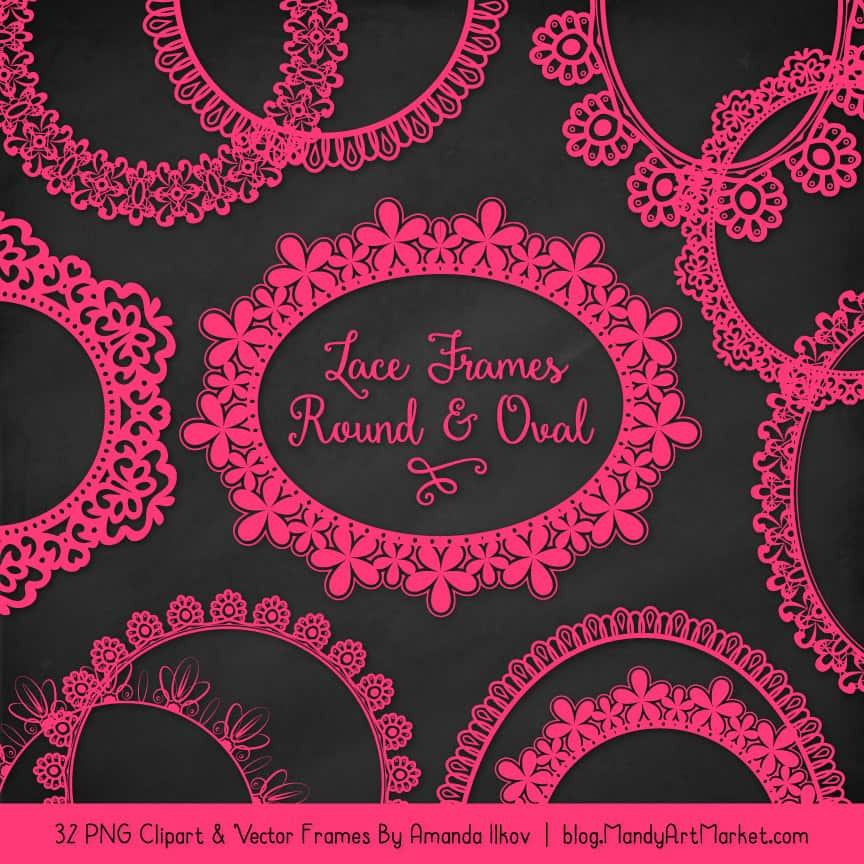 Hot Pink Round Digital Lace Frames Clipart