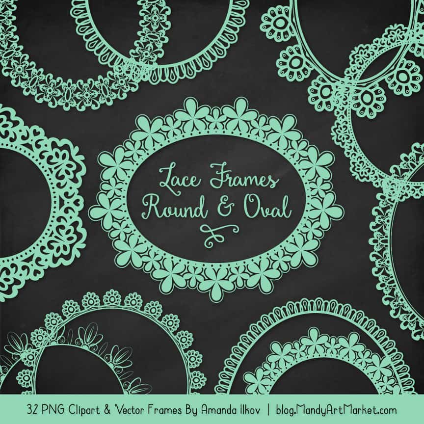Mint Round Digital Lace Frames Clipart