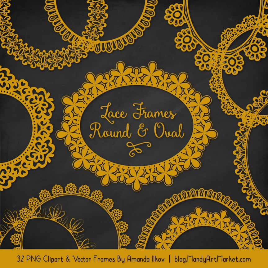 Mustard Round Digital Lace Frames Clipart