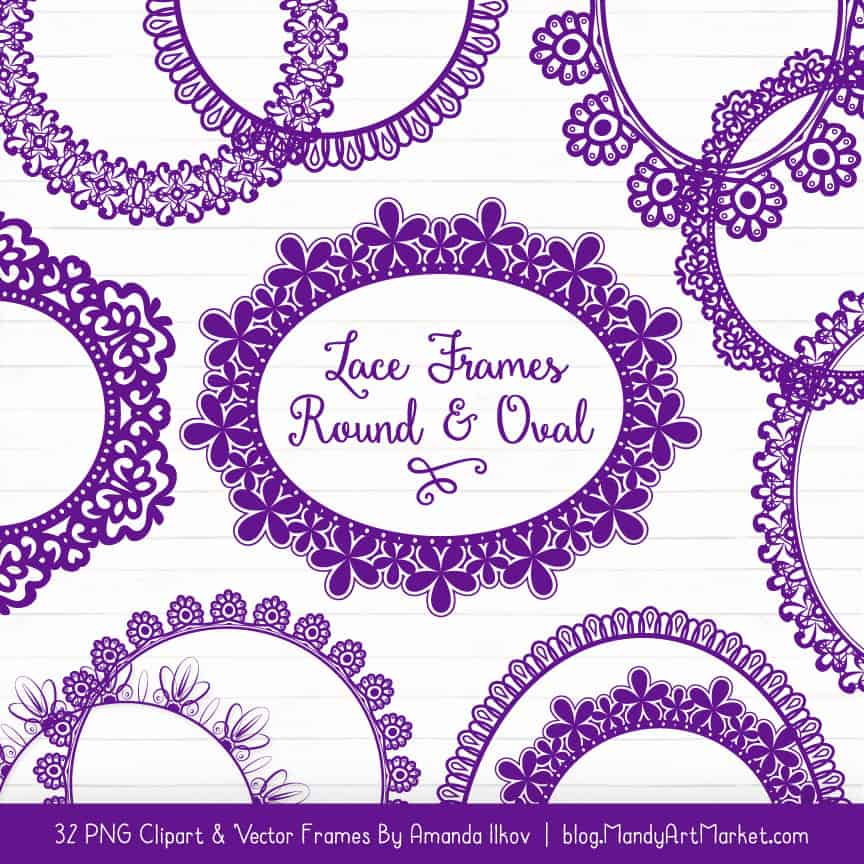 Violet Round Digital Lace Frames Clipart
