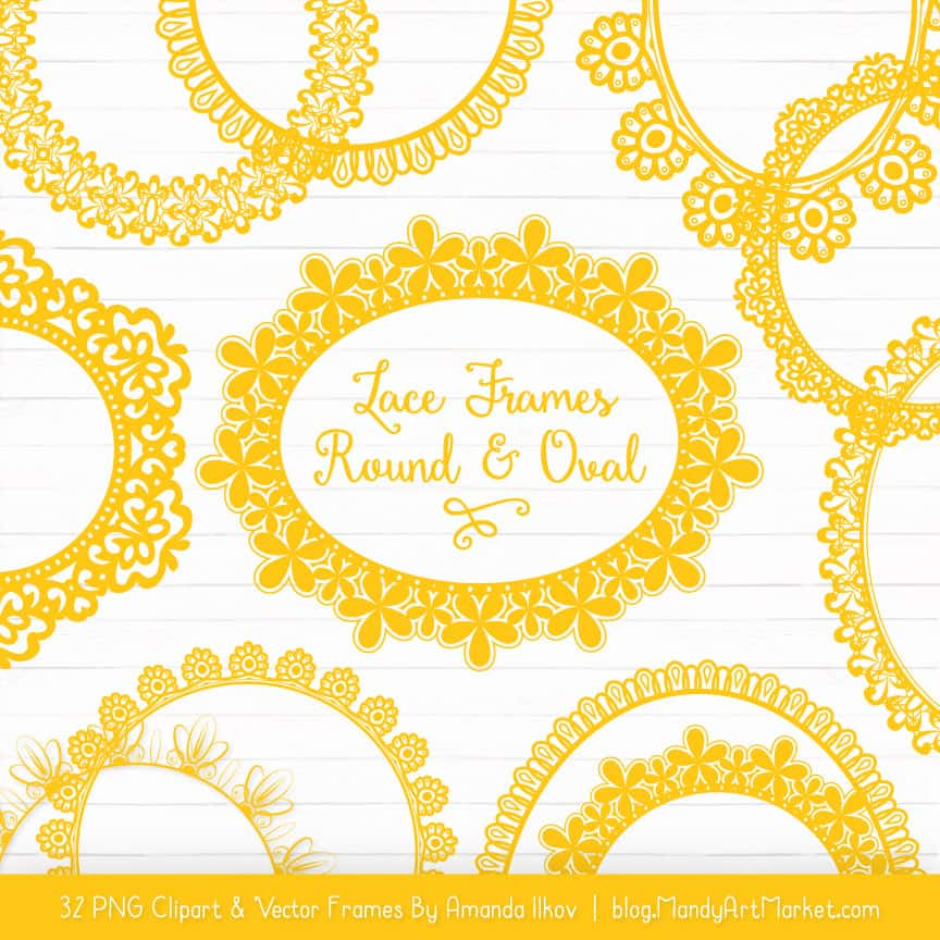 Yellow Round Digital Lace Frames Clipart